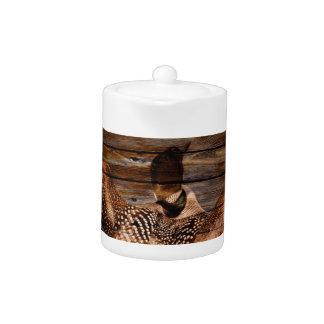 Primitive Barn wood Western Country waterfowl Loon Teapot