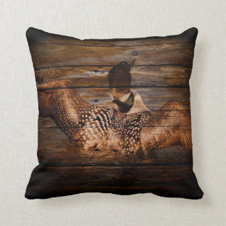 Primitive Barn wood Western Country waterfowl Loon Throw Pillow