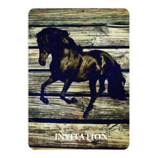 Primitive BarnWood Equestrian Black Stallion Horse Card