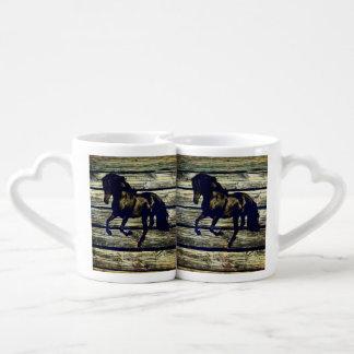Primitive BarnWood Equestrian Black Stallion Horse Coffee Mug Set