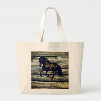 Primitive BarnWood Equestrian Black Stallion Horse Large Tote Bag