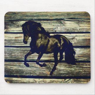 Primitive BarnWood Equestrian Black Stallion Horse Mouse Pad