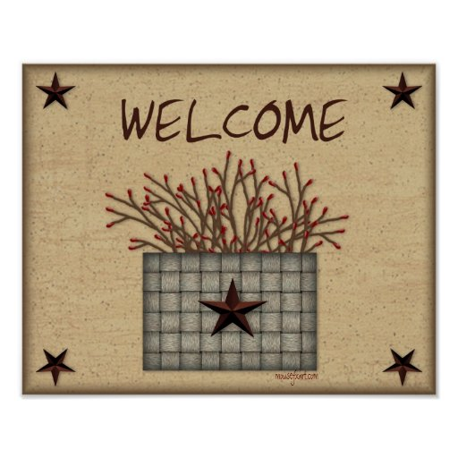 Primitive Basket Welcome Print