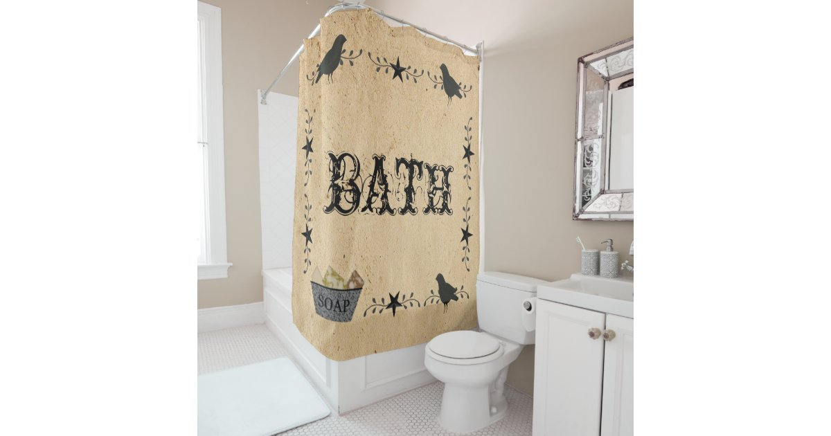 Primitive Bath Shower Curtain Zazzle