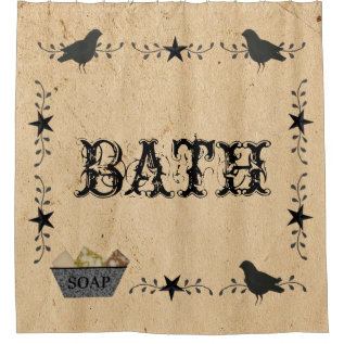 Primitive Bath Shower Curtain at Zazzle
