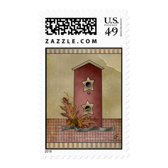 primitive bird house stamp