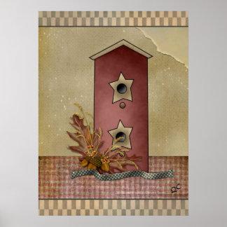 primitive Birdhouse poster