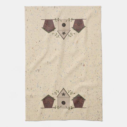 Primitive Birdhouses Kitchen Towel