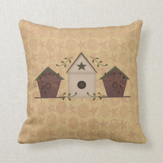 Primitive Birdhouses Pillow