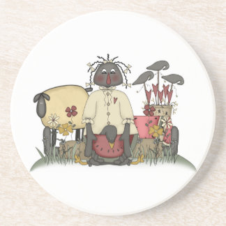 Primitive Black Doll with Sheep and Crows Sandstone Coaster