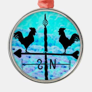 Primitive Black Weather Vane Roosters NS Design Metal Ornament