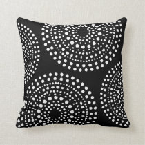 Primitive Boho Mosaic Pattern Black Throw Pillow