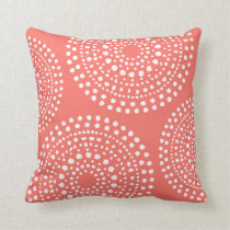 Primitive Boho Mosaic Pattern Live Coral Throw Pillow