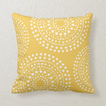 Primitive Boho Mosaic Pattern Yellow Throw Pillow