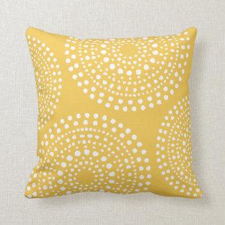 Primitive Boho Mosaic Pattern Yellow Throw Pillow