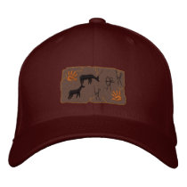 Primitive Bow Hunting Scene Embroidered Baseball Cap