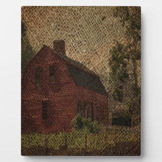 Primitive burlap country farmhouse red barn plaque