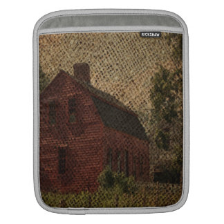 Primitive burlap country farmhouse red barn sleeve for iPads