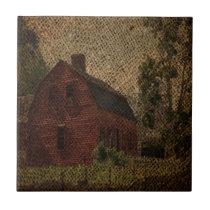Primitive burlap country farmhouse red barn tile