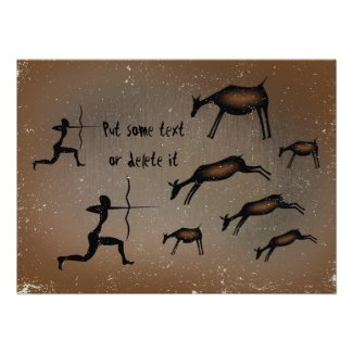 Primitive cave art horses custom poster print print