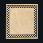 """Primitive Check Notepad<br><div class=""""desc"""">This Old Paper Notepad with a black checkered border is great for your primitive or country style decor.</div>"""