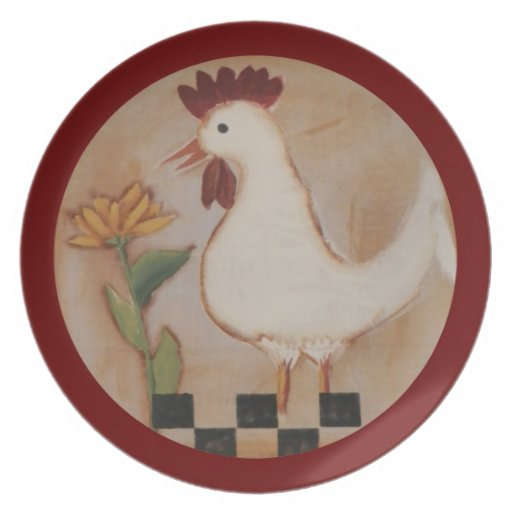 Primitive Chicken and Flower Painting Dinner Plate