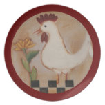 Primitive Chicken and Flower Painting Plates