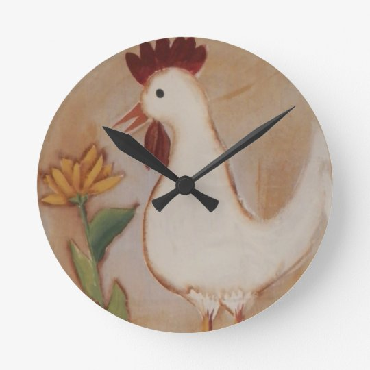 Primitive Chicken and Flower Painting Round Clock