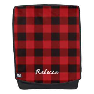 Primitive Christmas Red buffalo Plaid lumberjack Backpack