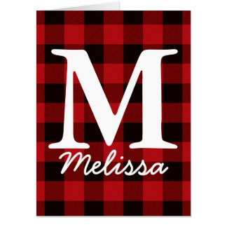 Primitive Christmas Red buffalo Plaid lumberjack Card