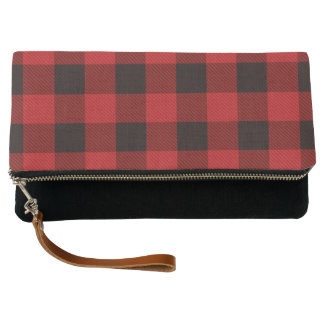 Primitive Christmas Red buffalo Plaid lumberjack Clutch