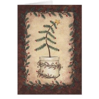 Primitive Christmas Tree Card