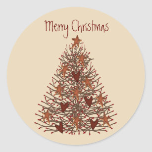 primitive christmas tree sticker