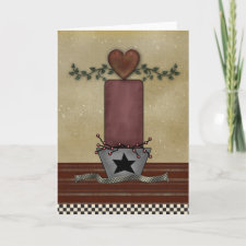Primitive Cnadle Greeting Card card