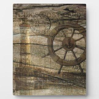 Primitive Coastal Nautical Helm Wheel lighthouse Plaque