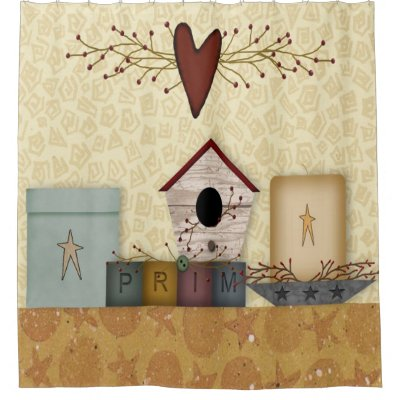 Primitive Birdhouses Shower Curtain