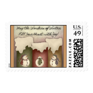 Primitive Country Candles & Snowman Stamp