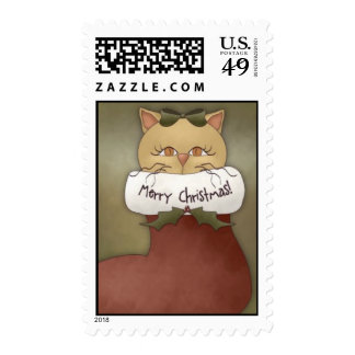 Primitive Country Cat Stamp by Trina Clark