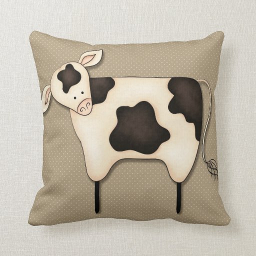 Primitive Throw Pillows For Couch : Primitive Country Cow Decor Pillow Zazzle