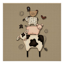 Primitive Country Cow, Sheep, Pig & Rooster Decor
