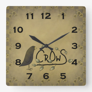 Primitive Country Crow Wall Clock