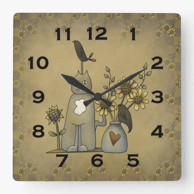 Kitchen Primitive Home Decor Country Cat PERSONALIZED Wall Clock GREAT GIFT