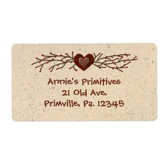Primitive Country Heart Label Shipping Label