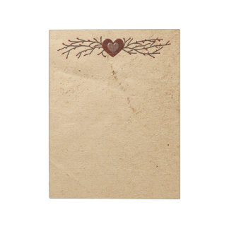 Primitive Country Heart Large Notepad