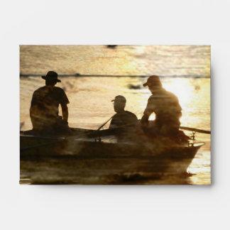Primitive country lake boat canoe fishing envelope