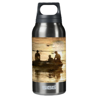 Primitive country lake boat canoe fishing insulated water bottle