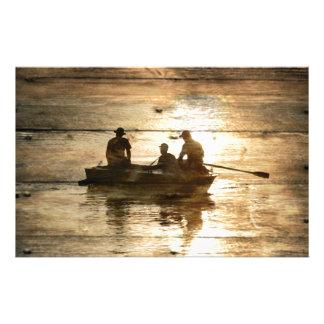 Primitive country lake boat canoe fishing stationery