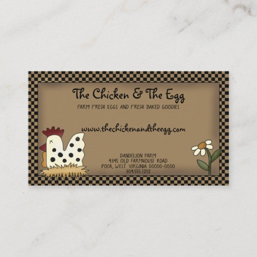 Primitive Country Rustic Farmhouse Chicken Kraft Business Card