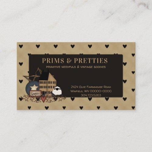Primitive Country Saltbox House Sheep Grouping Business Card