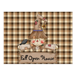 Primitive Country Scarecrow Fall Open House Card